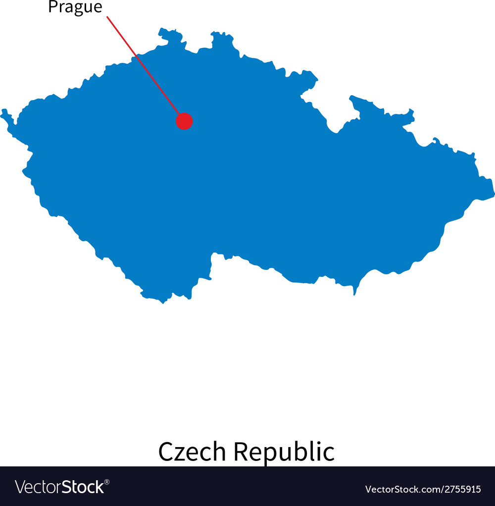 Detailed map of czech republic and capital city vector | Price: 1 Credit (USD $1)