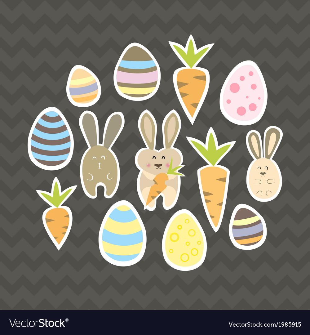 Easter set on a brown vector | Price: 1 Credit (USD $1)