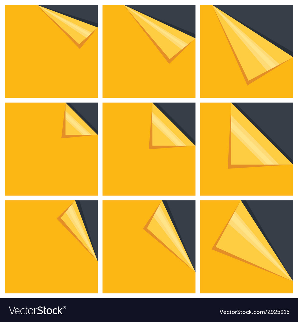 Flat yellow set of note paper with curled corner vector | Price: 1 Credit (USD $1)