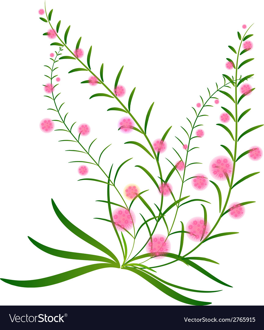 Grass with flowers set vector | Price: 1 Credit (USD $1)