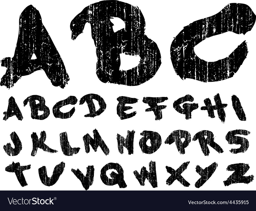 Hand drawn brush font grungy vector | Price: 1 Credit (USD $1)