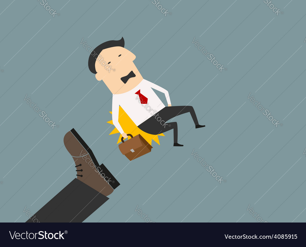 Kicked out businessman with briefcase vector | Price: 1 Credit (USD $1)
