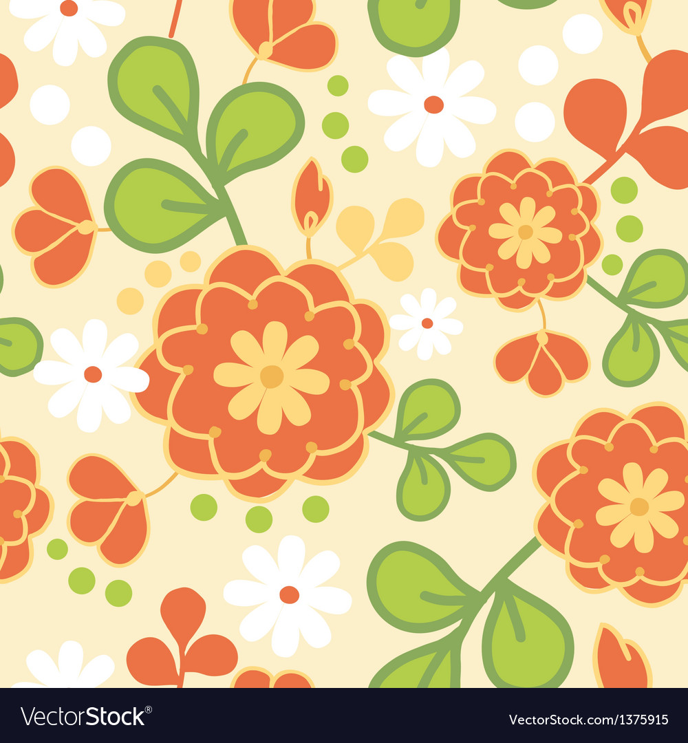 Orange kimono flowers seamless pattern background vector | Price: 1 Credit (USD $1)