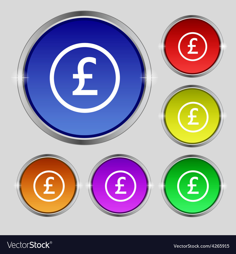 Pound sterling icon sign round symbol on bright vector | Price: 1 Credit (USD $1)