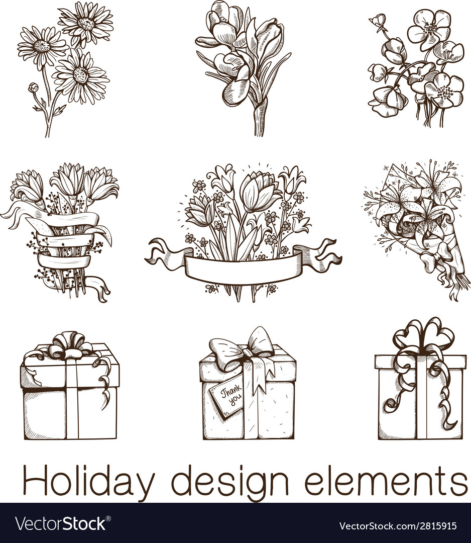 Presents and flowers sketch collection vector | Price: 1 Credit (USD $1)
