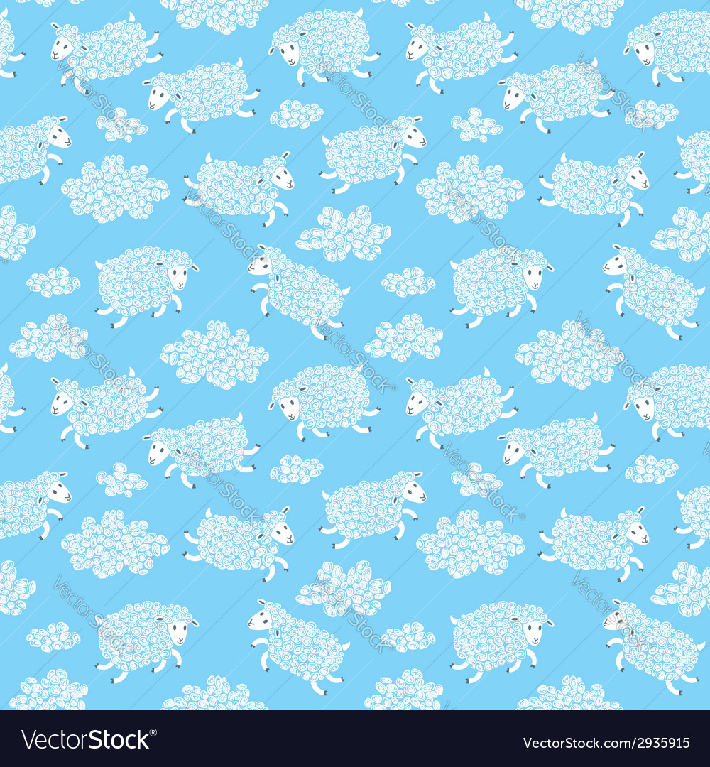 Seamless pattern with cute sheep and clouds vector | Price: 1 Credit (USD $1)