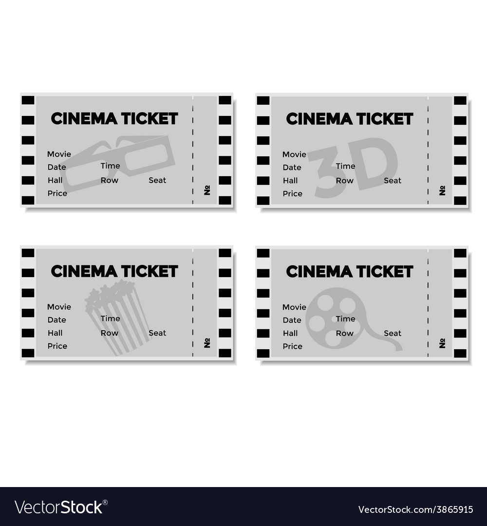 Set of grey cinema ticket vector | Price: 1 Credit (USD $1)