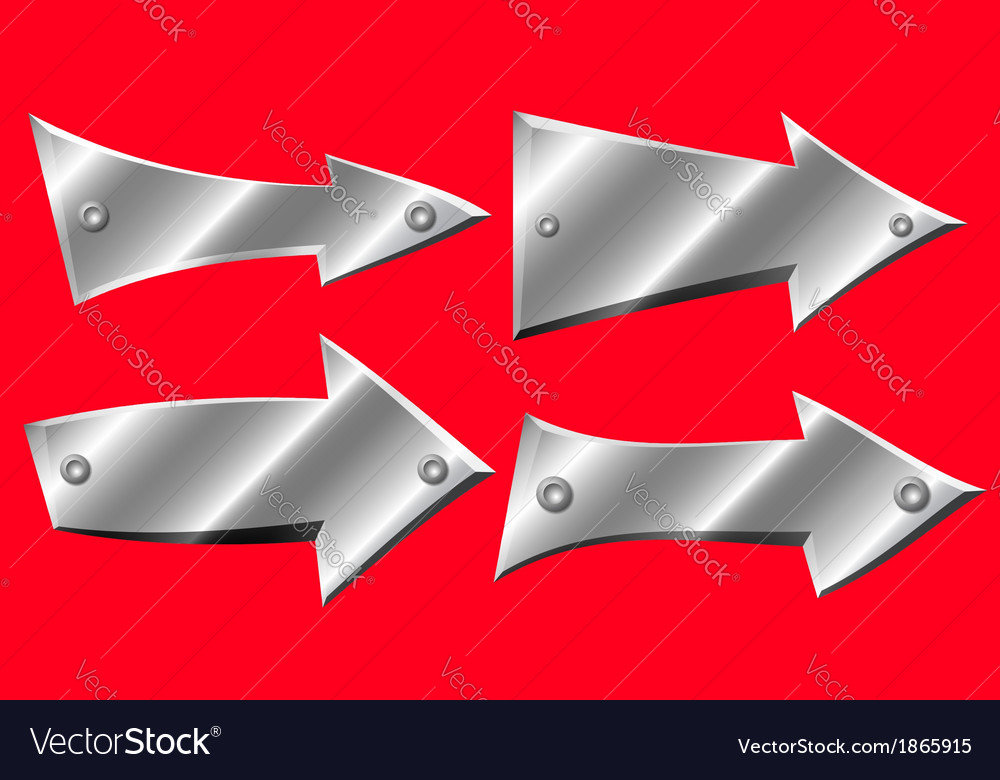 Set of metal arrows with rivets on red background vector | Price: 1 Credit (USD $1)