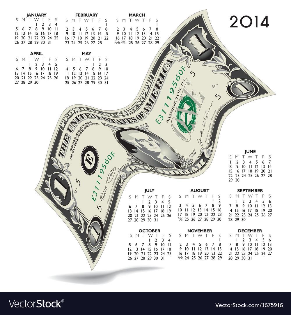 2014 dancing dollar calendar vector | Price: 1 Credit (USD $1)