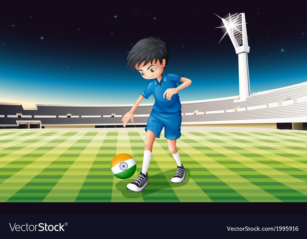 A male soccer player with the flag of india vector | Price: 3 Credit (USD $3)