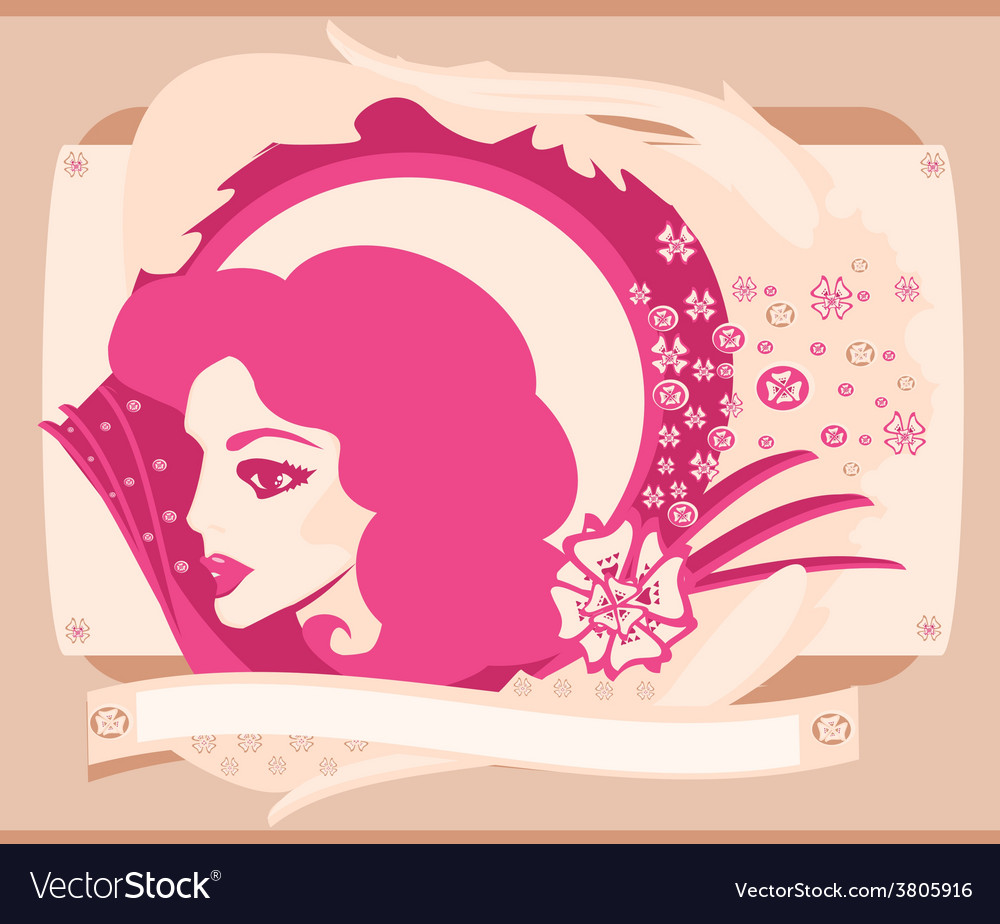 Abstract beautiful woman portrait card vector | Price: 1 Credit (USD $1)