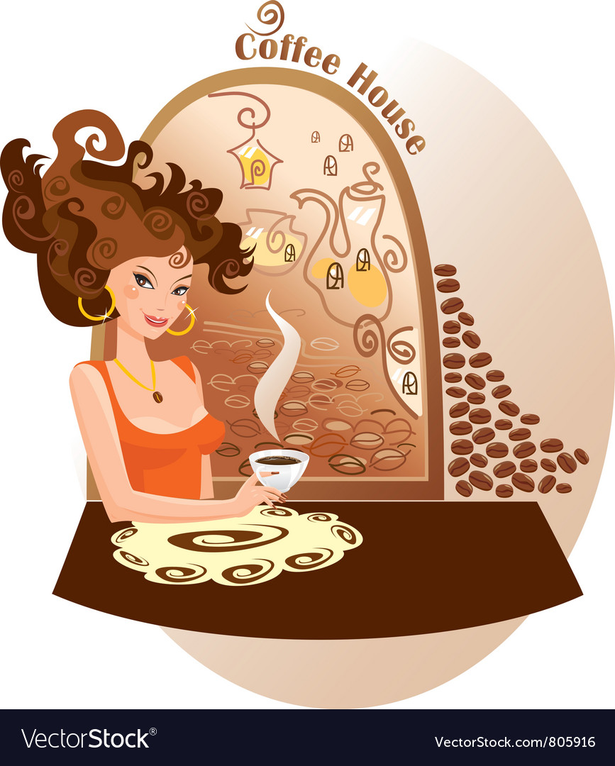 Beautiful girl into coffee house vector | Price: 3 Credit (USD $3)