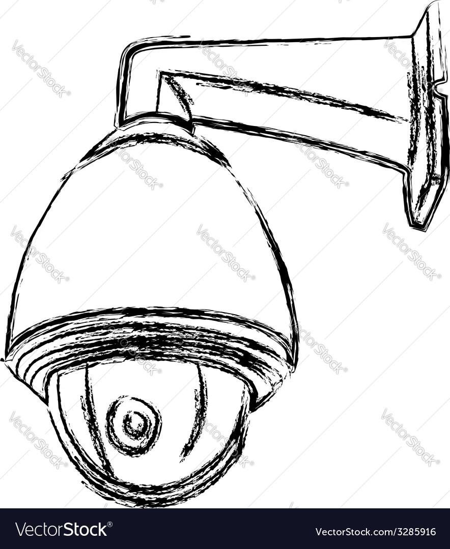Black and white surveillance camera cctv vector | Price: 1 Credit (USD $1)