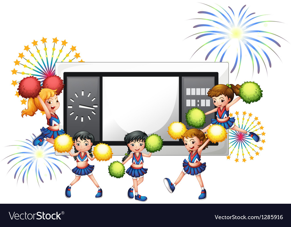 Cheerdancers with a scoreboard at the back vector | Price: 1 Credit (USD $1)