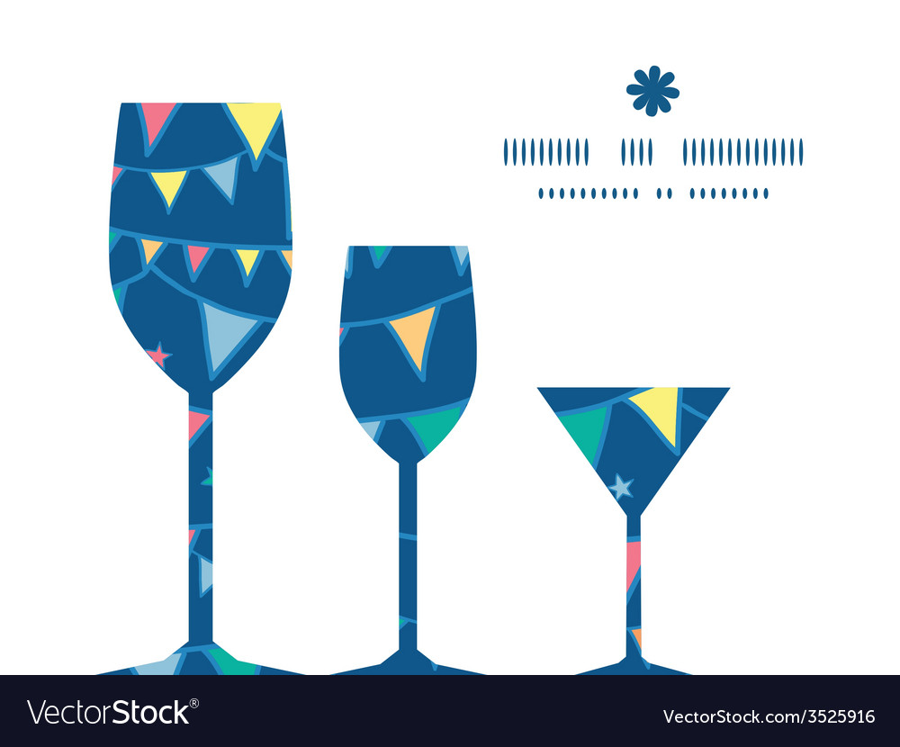 Colorful doodle bunting flags three wine glasses vector | Price: 1 Credit (USD $1)