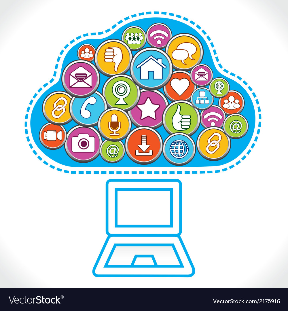 Different social media icons make cloud vector | Price: 1 Credit (USD $1)