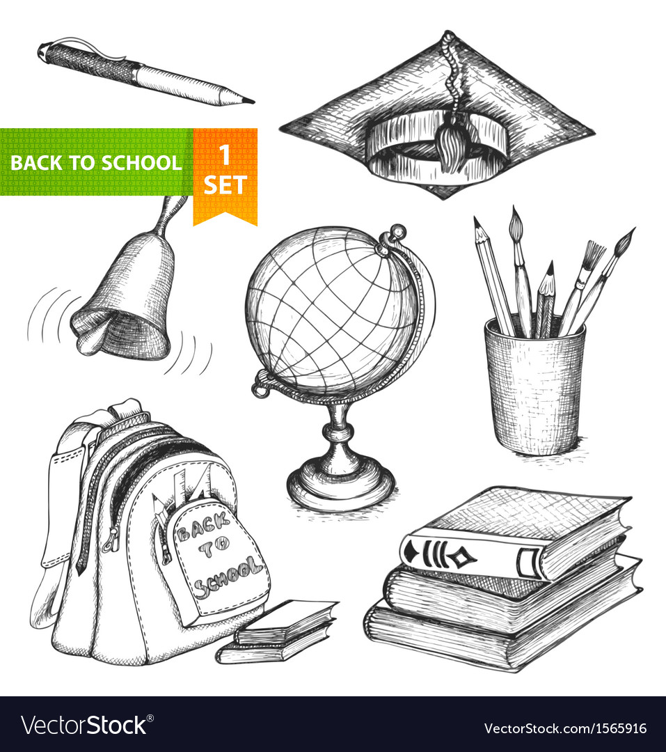 Education school set vector | Price: 1 Credit (USD $1)