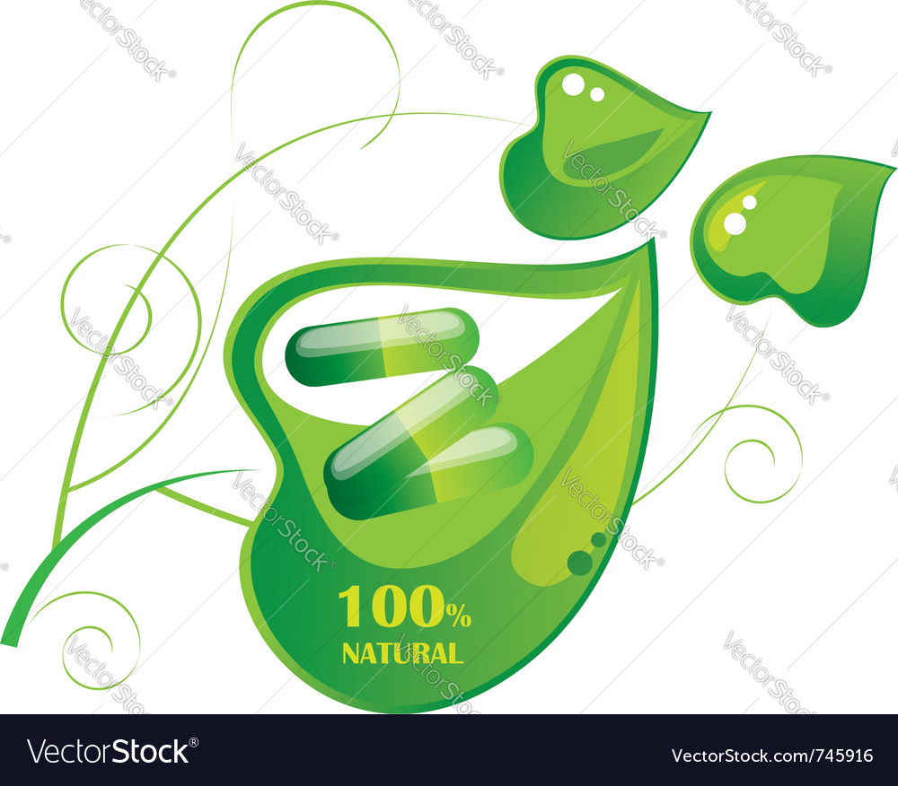 Pills capsule on a green leaf vector | Price: 1 Credit (USD $1)