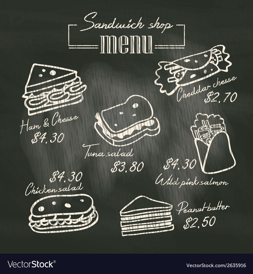 Sandwich doodle menu drawing on chalk board vector | Price: 1 Credit (USD $1)