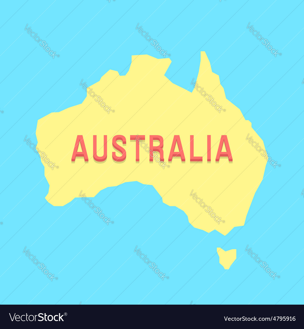 Silhouette of australia in yellow and blue colors vector | Price: 1 Credit (USD $1)