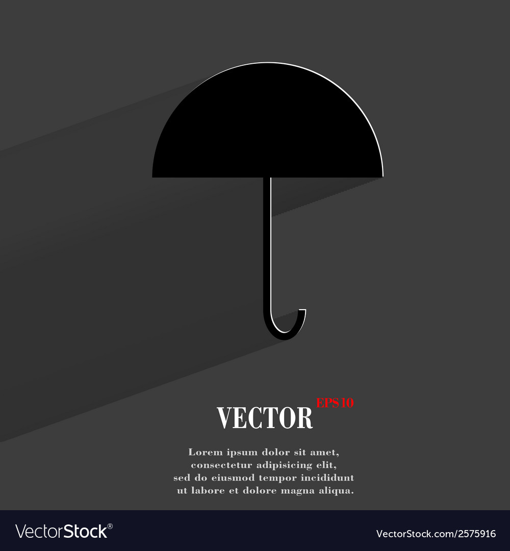 Umbrella flat modern web button with long shadow vector | Price: 1 Credit (USD $1)