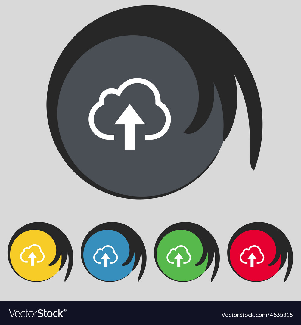 Upload from cloud icon sign symbol on five colored vector   Price: 1 Credit (USD $1)