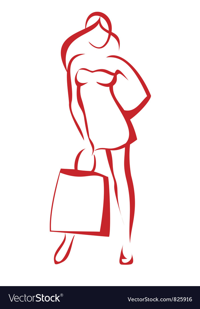 Woman with the shopping bag vector | Price: 1 Credit (USD $1)