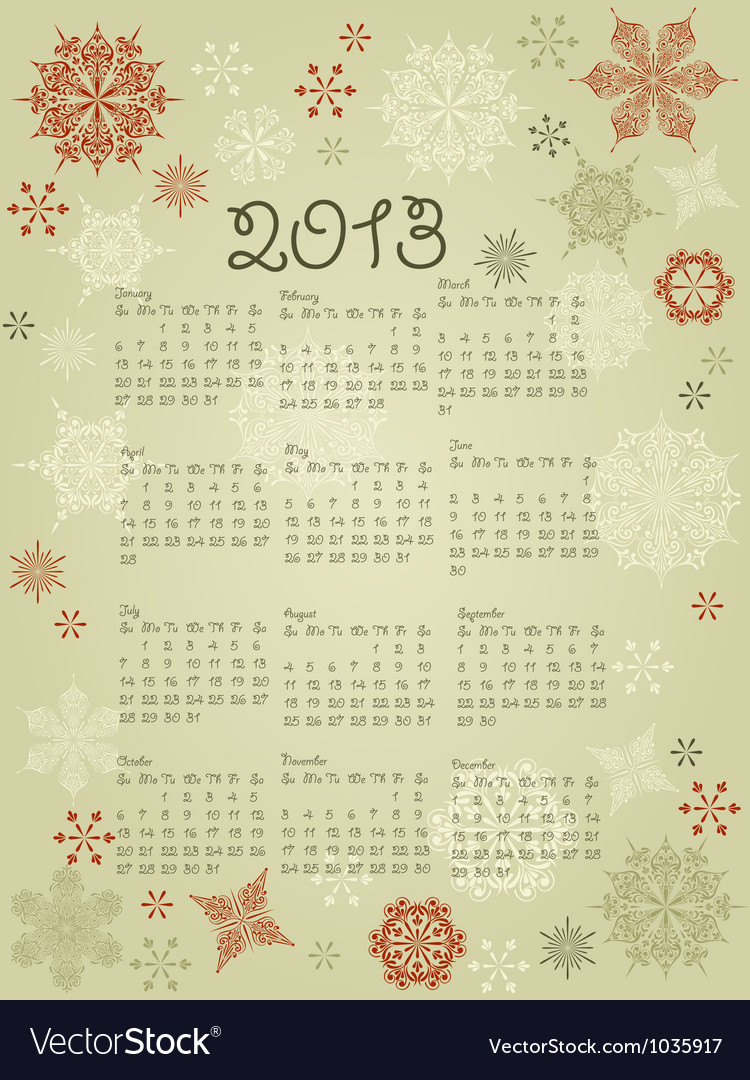 2013 calendar with snowflakes vector | Price: 1 Credit (USD $1)