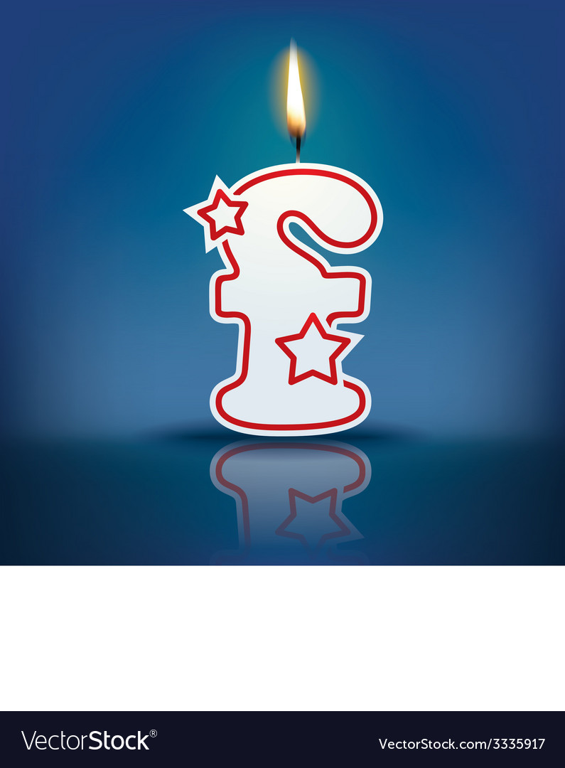 Candle letter f with flame vector | Price: 1 Credit (USD $1)
