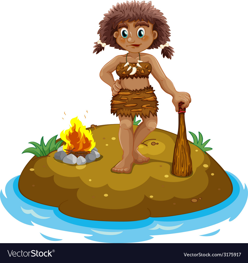 Caveman on island vector | Price: 1 Credit (USD $1)