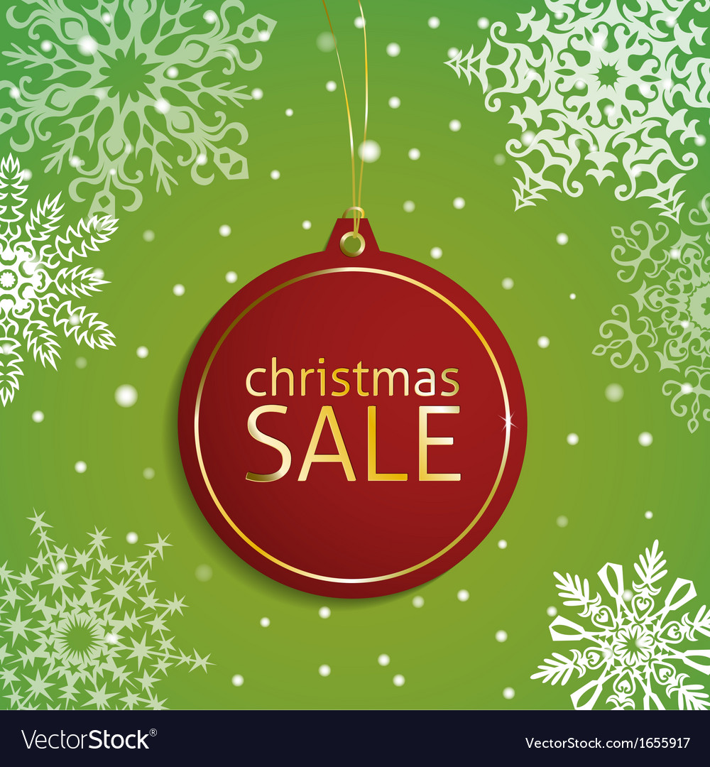 Christmas sale tag on a snowy background vector | Price: 1 Credit (USD $1)