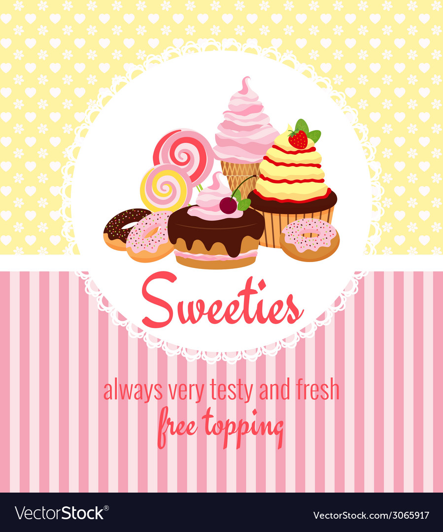 Greeting card template with sweets and candy vector | Price: 1 Credit (USD $1)