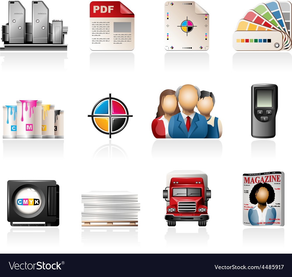 Offset printing icons vector | Price: 3 Credit (USD $3)