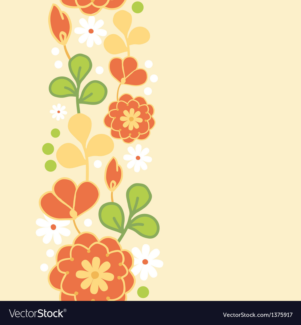 Orange kimono flowers vertical seamless pattern vector | Price: 1 Credit (USD $1)