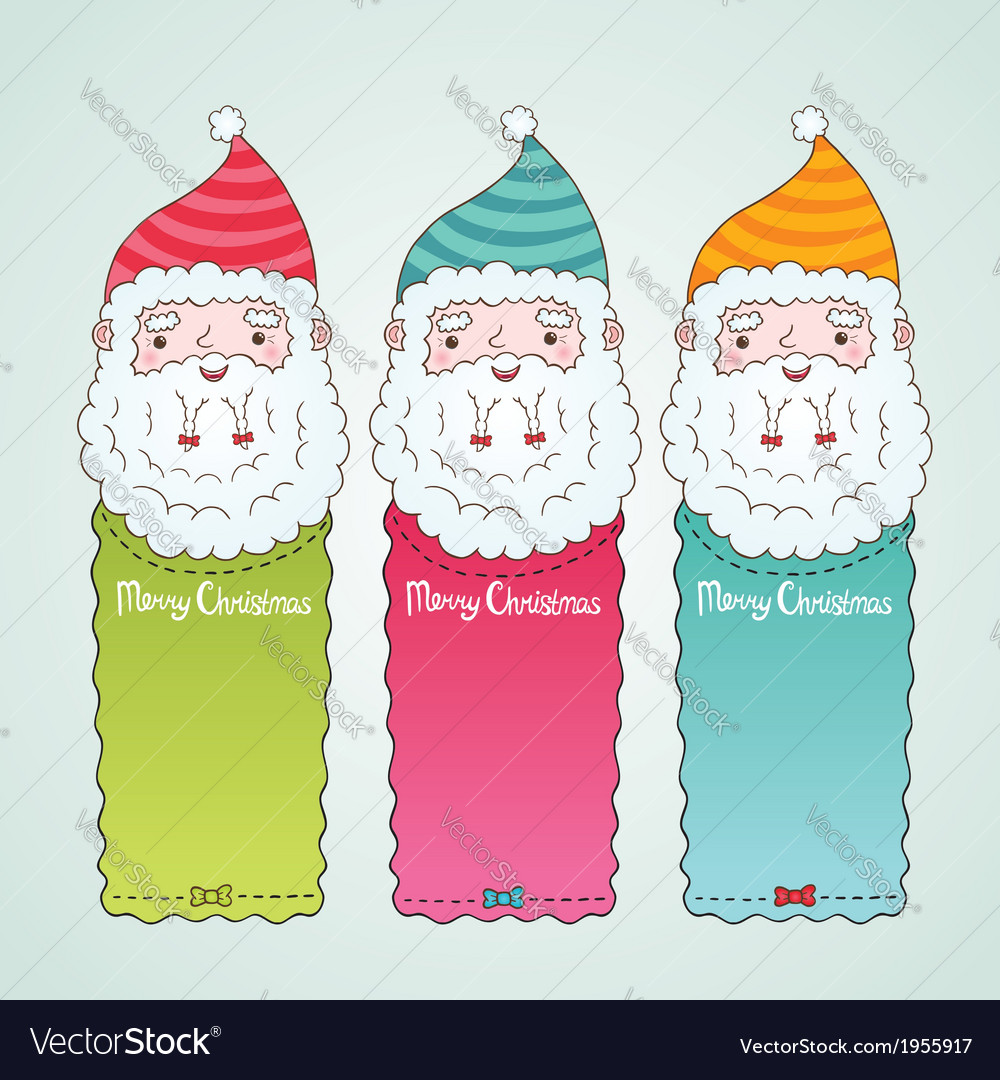Santa claus and christmas banner set vector | Price: 1 Credit (USD $1)