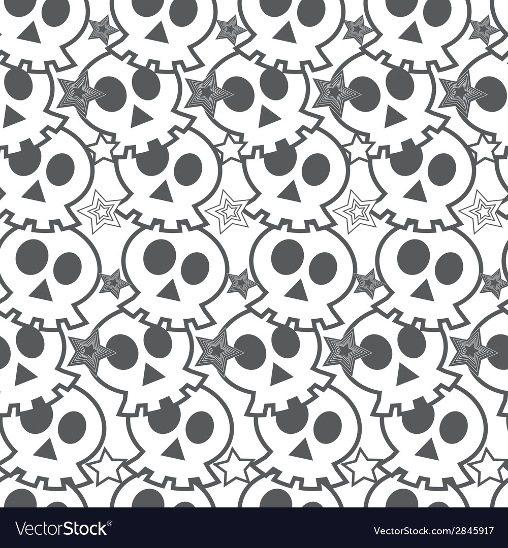 Seamless black background with skulls vector | Price: 1 Credit (USD $1)