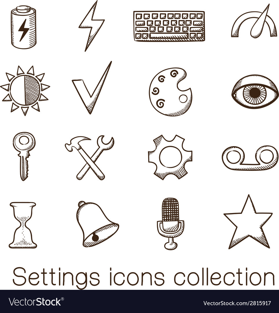 Settings icons collection vector | Price: 1 Credit (USD $1)
