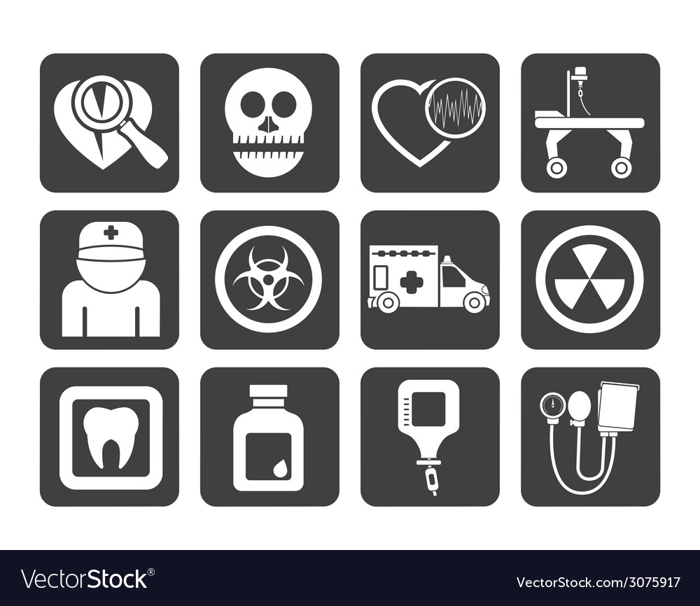 Silhouette medicine and hospital equipment icons vector | Price: 1 Credit (USD $1)