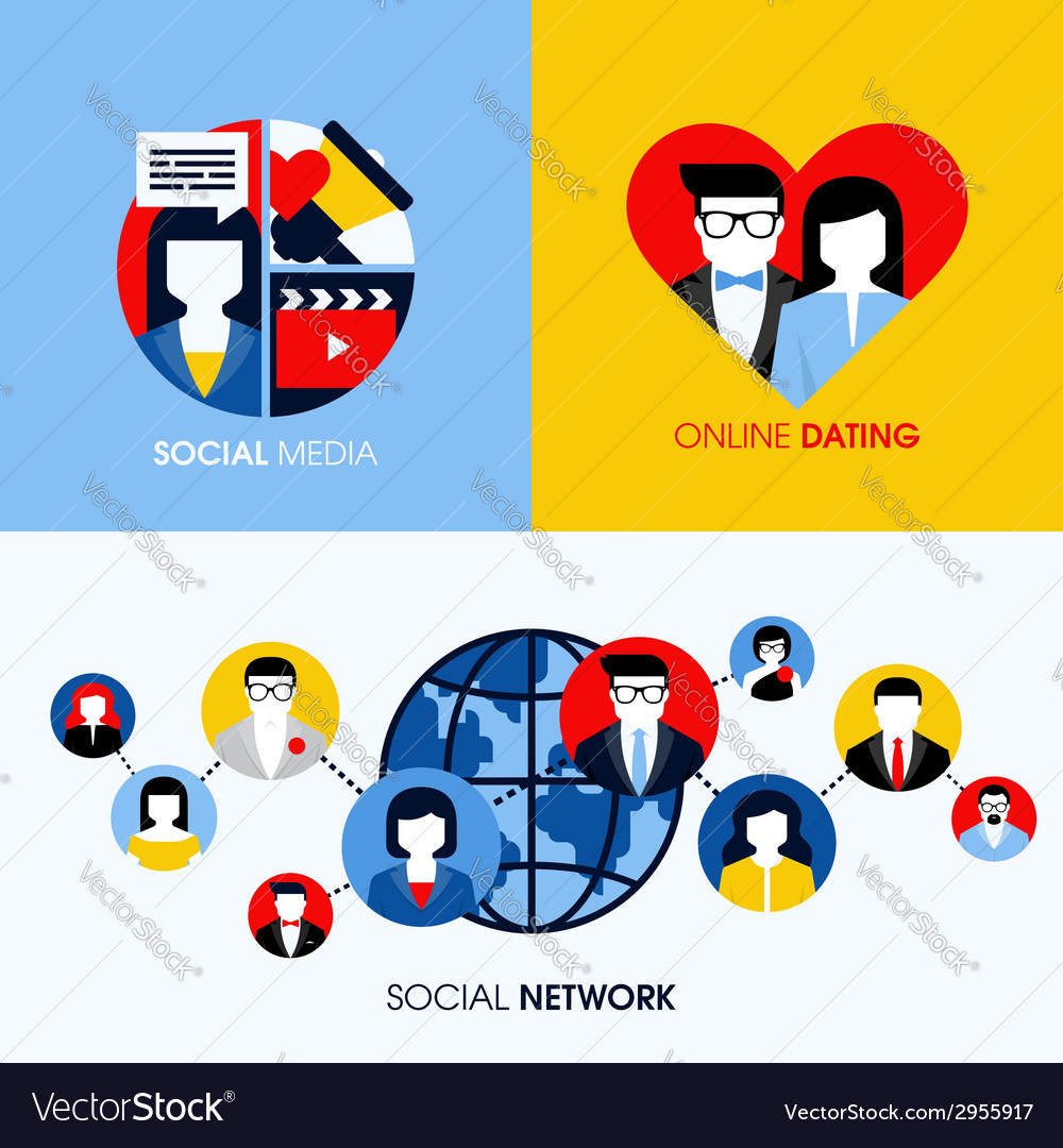Social network social media and online dating vector | Price: 1 Credit (USD $1)