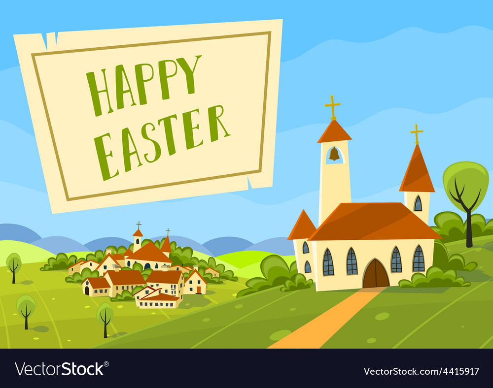 Spring easter card with village and church vector   Price: 1 Credit (USD $1)
