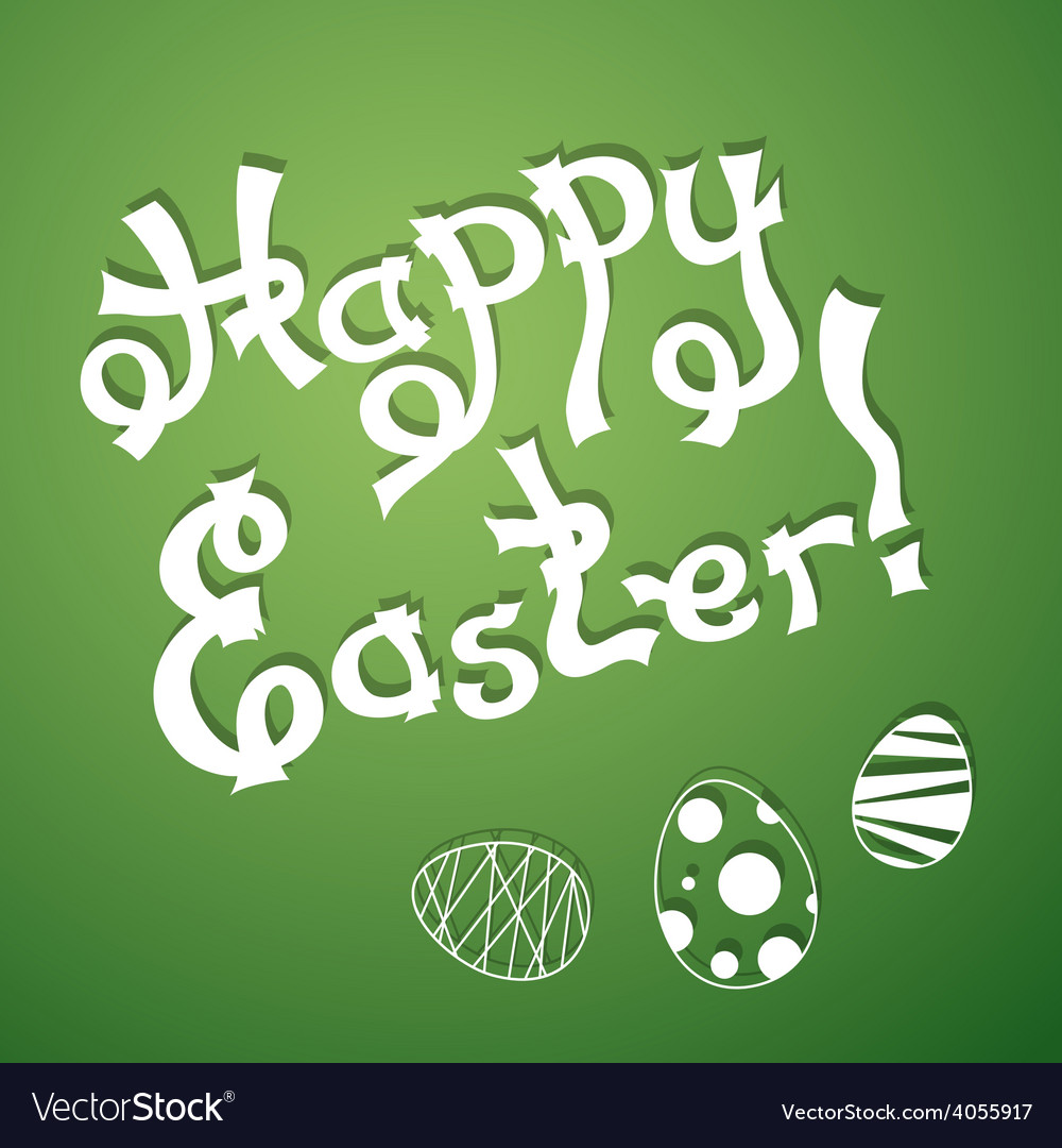 Text happy easter with festive eggs vector | Price: 1 Credit (USD $1)