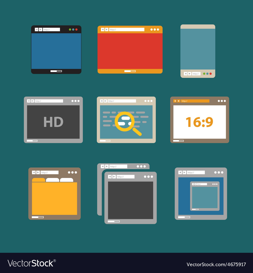 Web browsers flat design collection vector | Price: 1 Credit (USD $1)