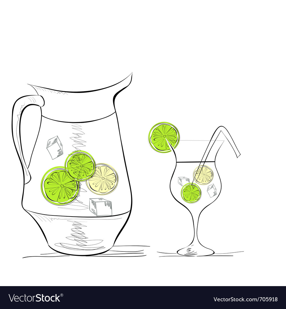 A glass of water with lime and pitcher vector | Price: 1 Credit (USD $1)
