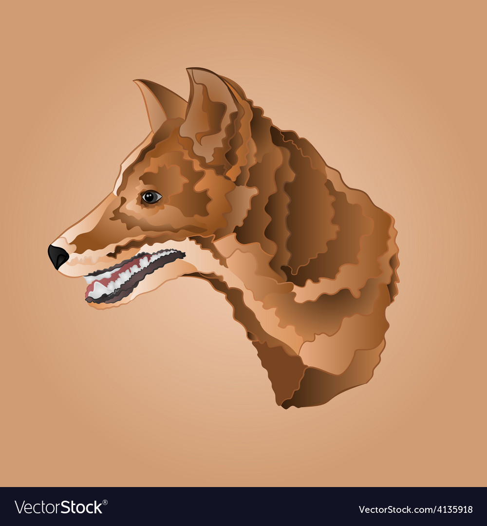 Brown dog head domestic animal vector | Price: 1 Credit (USD $1)