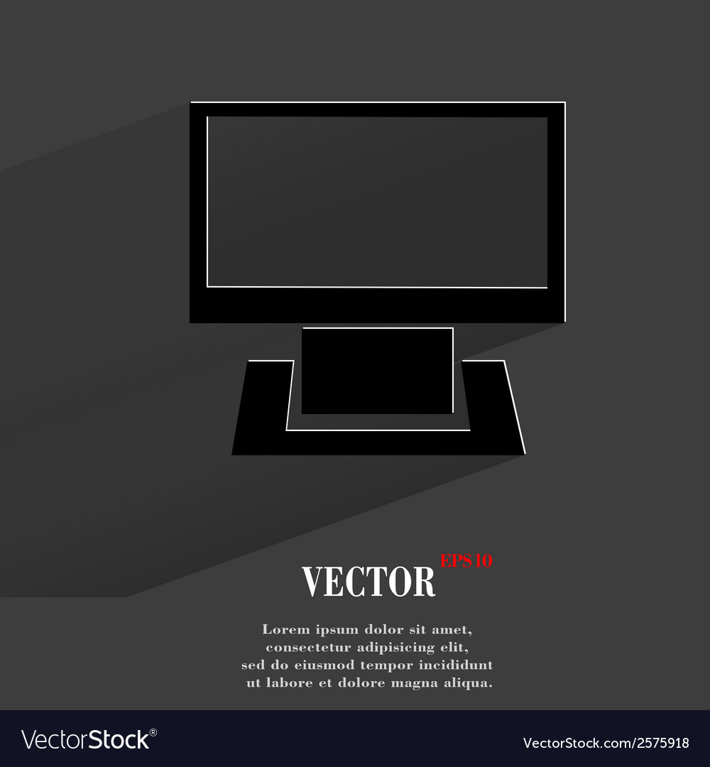 Computer flat modern web button with long shadow vector | Price: 1 Credit (USD $1)
