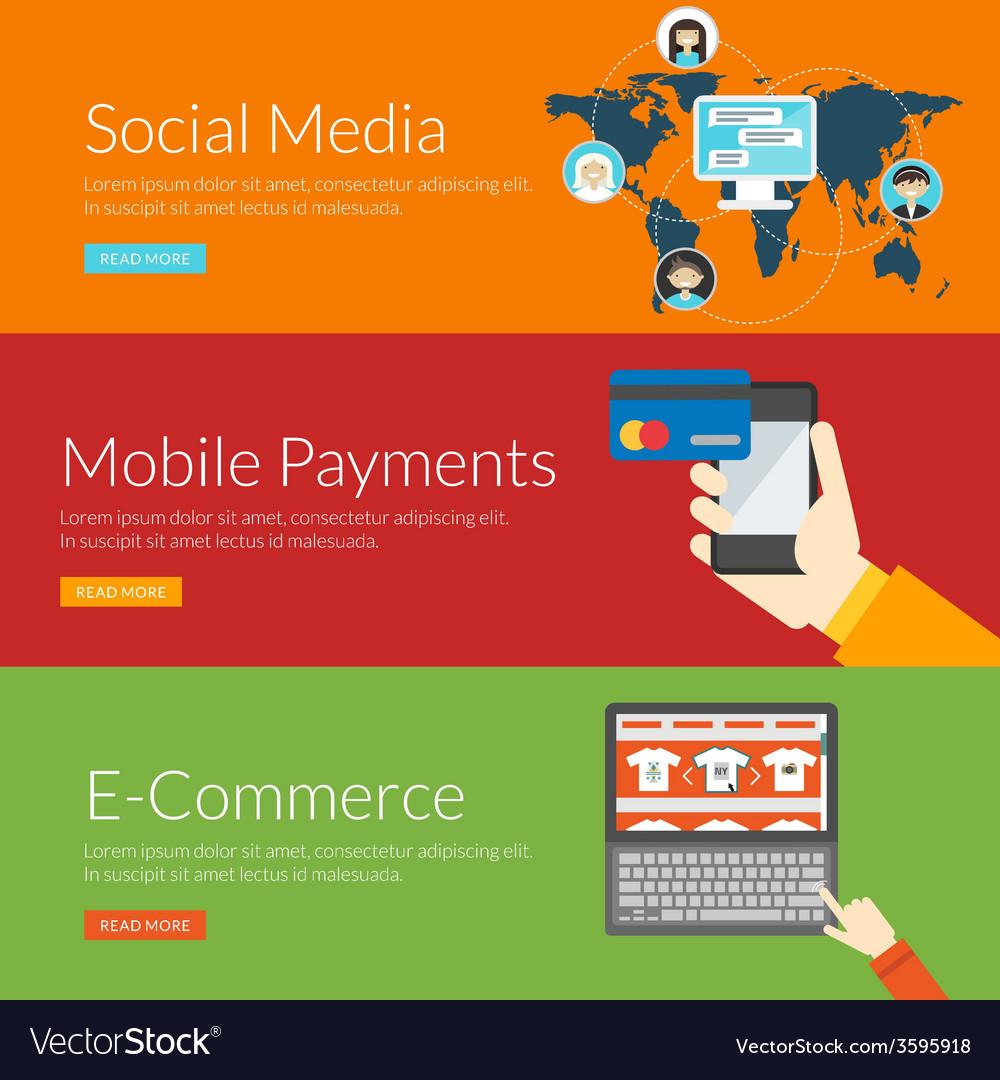 Flat design concept for social media mobile vector | Price: 1 Credit (USD $1)