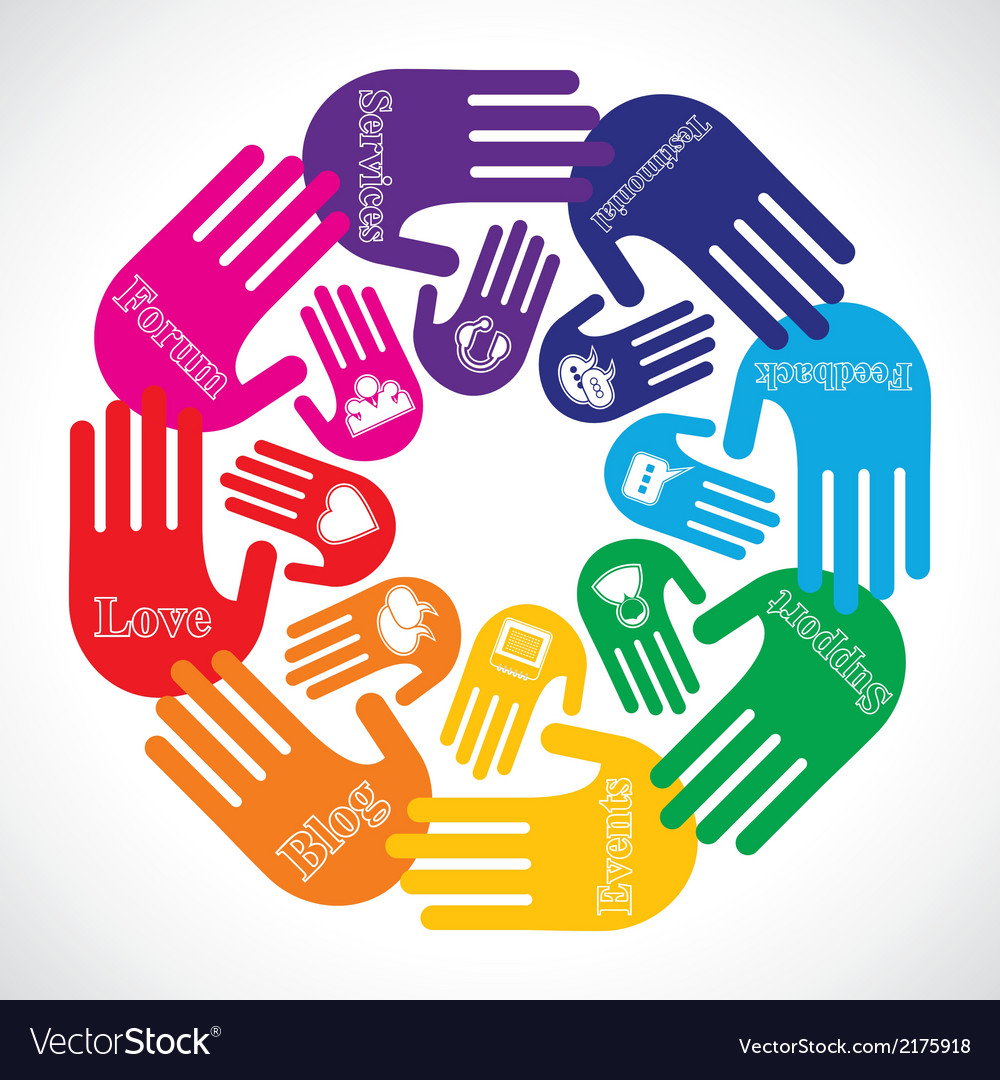 Hand showing different social media icons vector | Price: 1 Credit (USD $1)