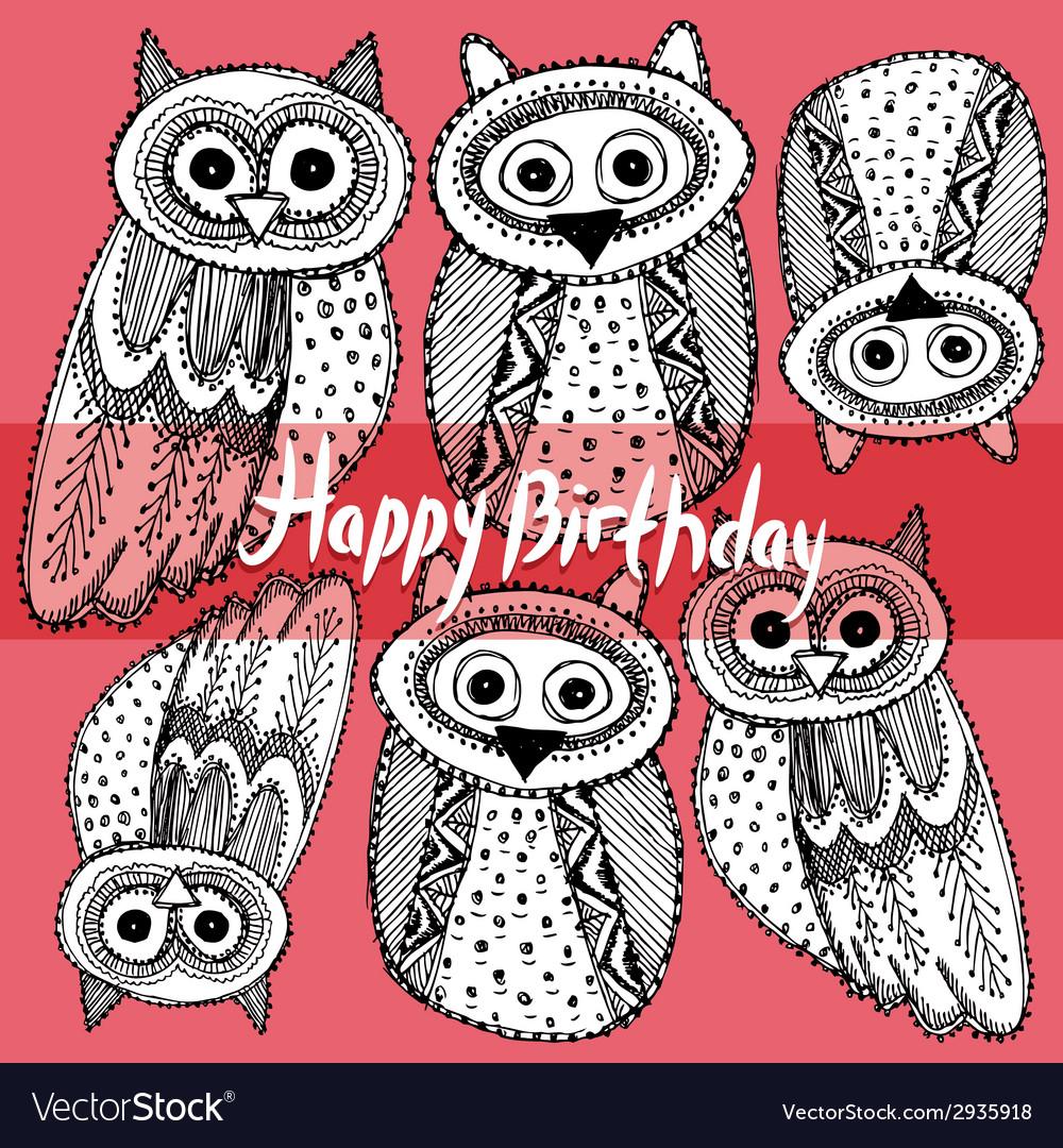 Happy birthday decorative hand dravn cute owl vector | Price: 1 Credit (USD $1)