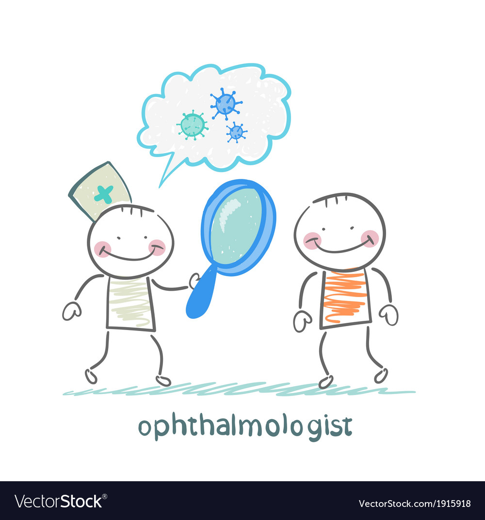 Ophthalmologist tells the patient about bacteria vector | Price: 1 Credit (USD $1)