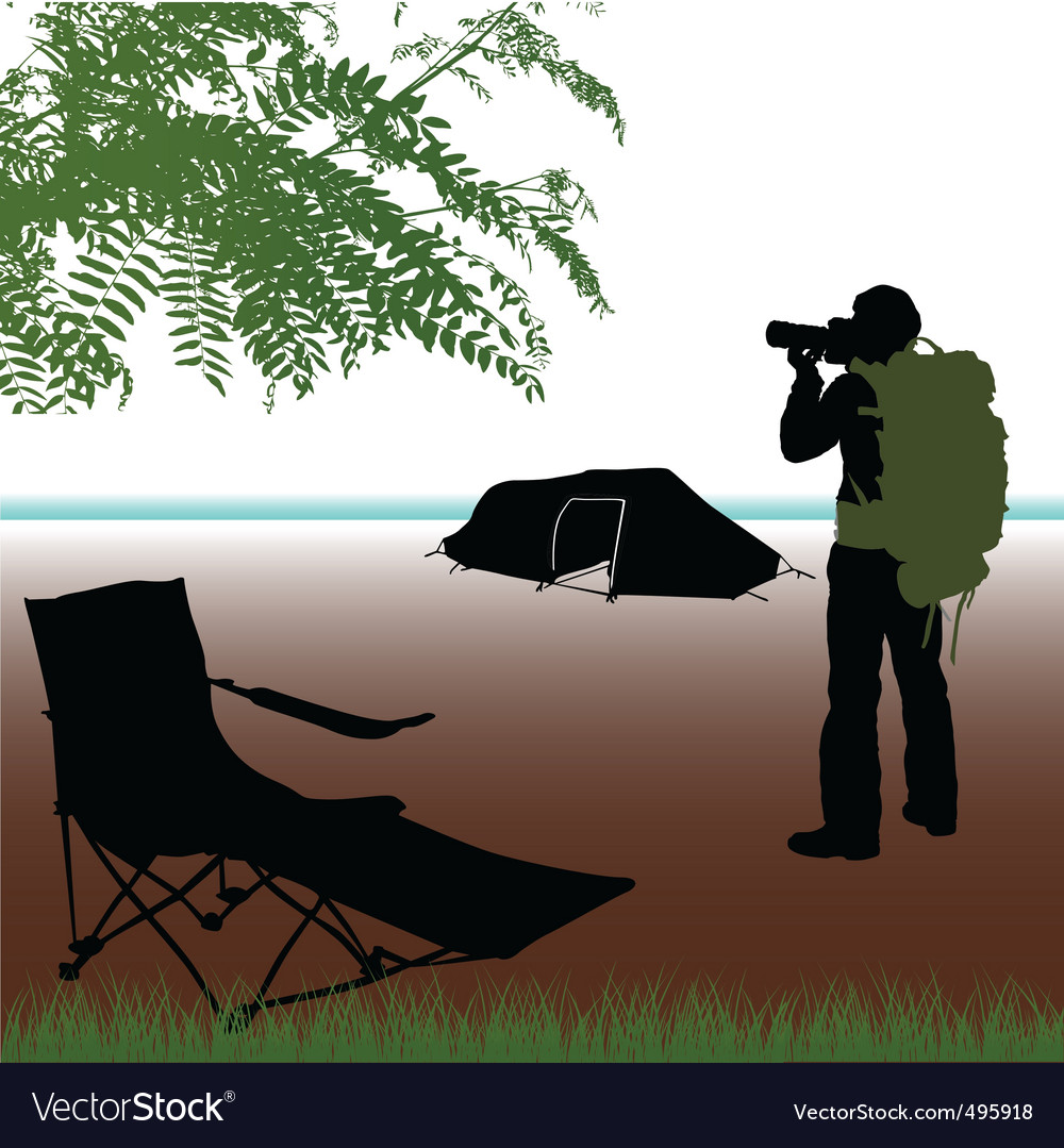 Photographer with camping vector | Price: 1 Credit (USD $1)